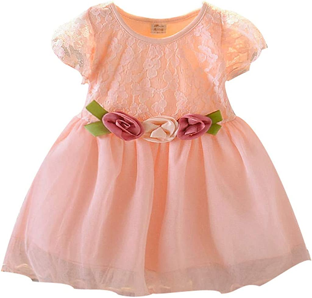 Becoler Baby Kids Girl Sweet Lace Floral Tulle Dress Princess Dresses Clothes