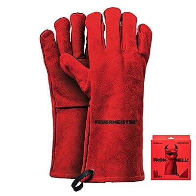 FEUERMEISTER Premium BBQ Grillhandschuh aus Hochwertigem Leder in Rot, Größe 8, 1 Paar