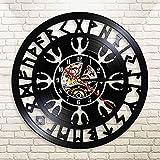 YINU Norse Talisman Aegishjalmr Helm of Awe Vinilo LP Reloj de Pared Norse Magick Vikingo brújula Retro Negro Reloj silencioso Reloj Pared