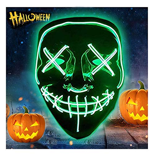 Mascaras Halloween de Terror LED MáScara Luminosa ,Purga Grimace Mask 4 Modos de Parpadeo Controlables y Diferentes,para DecoracióN de Disfraces de Fiesta de Carnaval, Hombres y Mujeres (Green)