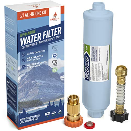 Firebelly Outfitters RV/Marine Inline Carbon Water Filter - Starter Kit w/Flexible Hose Protector, RV Water Pressure Regulator – Protects Against Bad Taste, Odor, Iron, Lead, Chlorine, Sediment, Mold