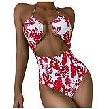 jieGorge Traje de baño con Control de Barriga, Lady Women Empalme Push-Up Sujetador de una Pieza Bikini Beach Set Traje de baño Traje de baño, Traje de baño para Mujer (Rojo S)