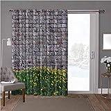 YUAZHOQI - Cortina térmica para puerta de cristal deslizante, muro de ladrillo, dientes de león, 100 cm de ancho x 84 cm de largo para dormitorio (1 panel)