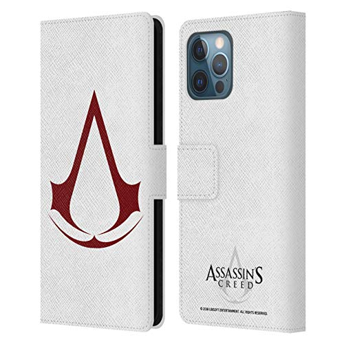 Head Case Designs Officially Licensed Assassin's Creed Plain Logo Leather Book Wallet Case Cover Compatible with Apple iPhone 12 Pro Max