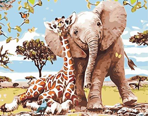 Fuumuui DIY Malen Nach Zahlen, DIY Digitale Leinwand Ölgemälde Geschenk für Kinder, Studenten, Erwachsene Anfänger- Elefant und Giraffe 16 * 20 Zoll