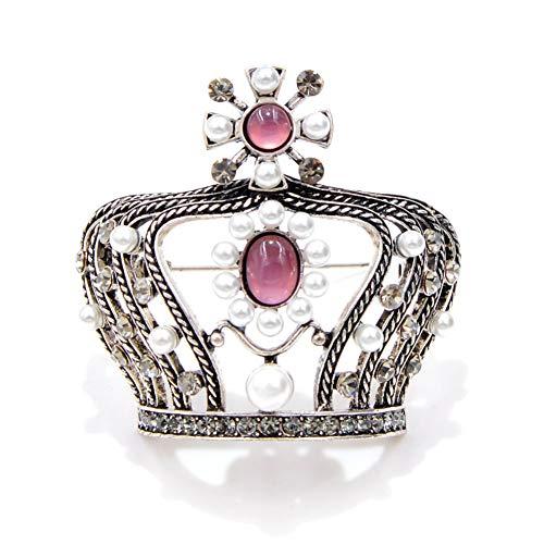 HUNANANA Vintage Pearl Crown Broschen Für Frauen 3D Stil Barock Brosche Hochwertige Mantel Zubehör Corsage