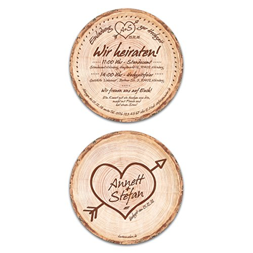 30 x Runde Hochzeitseinladungen Einladungskarten Hochzeit - Baumscheibe Holz Motiv