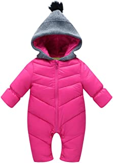 MNLYBABY Unisex Baby Hooded Puffer Jacket Jumpsuit Winter Warm Snowsuit Romper