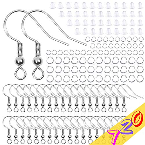 Hypoallergenic Earring Hooks Kit, Anezus 720Pcs Earring Making Kit with Hypoallergenic Earring Hooks, Earring Backs and Jump Rings for Earring Making and Repair