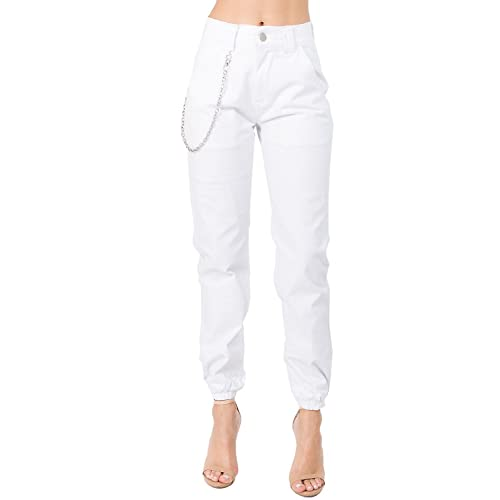 new styles ccda0 3f8a3 TwiinSisters Women s High Rise Slim Fit Color Jogger Pants Matching Belt -  Size Small to 3X