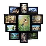 Relaxdays Bilderrahmen Collage, Bildergalerie für 11 Fotos, Fotorahmen zum Aufhängen, für mehrere Fotos, schwarz