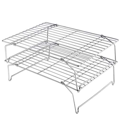 "TeamFar Cooling Rack, 15""x10"" Stainless Steel Wire Baking Rack for Roasting Broiling Cooking, Dishwasher & Oven Safe, Non-Toxic & Healthy, Sturdy & Stable, Stackable & Flexible – 2 Tiers"