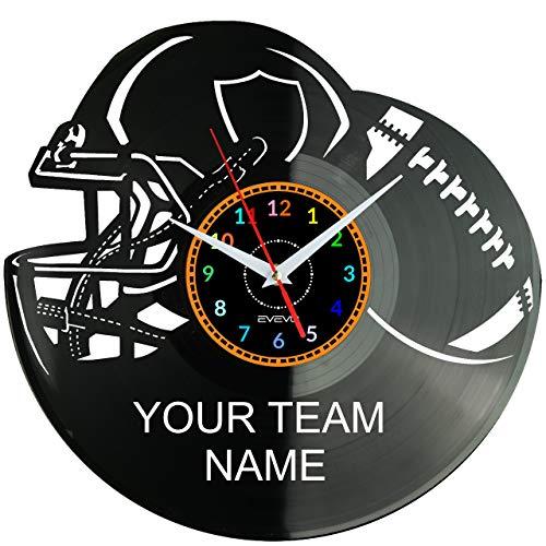 EVEVO American Football Team Ihr Name Wanduhr Vinyl Schallplatte Retro-Uhr groß Uhren Style Raum Home Dekorationen Tolles Geschenk Wanduhr American Football Team Ihr Name