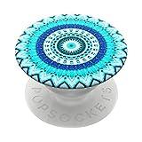 PopSockets PopGrip - Ausziehbarer Sockel und Griff für Smartphones und Tablets mit einem Austauschbarem Top - Blue Floral Mandala