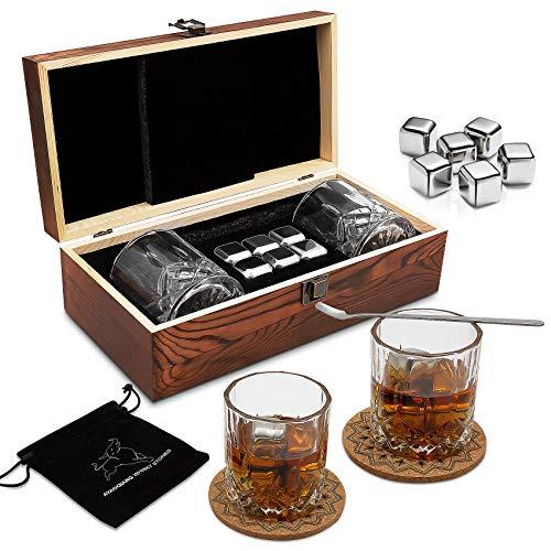 Whisky Steine Geschenkset – 6 Edelstahl Whisky Eiswürfel Wiederverwendbar - Whiskey Rocks Cooling Stones, Besondere Geschenke für Männer - Whisky Kühlstein Für Whiskey, Wodka, Gin, Wein & Mehr.