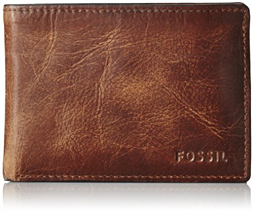 Fossil Men's Derrick Leather Slim Minimalist Bifold Front Pocket Wallet, Brown