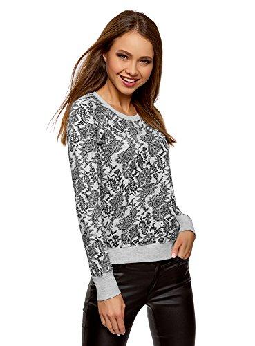 oodji Ultra Damen Bedrucktes Sweatshirt Basic, Grau, DE 34 / EU 36 / XS