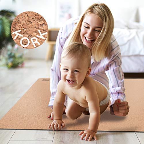 Famifidus Krabbelmatte Baby - Bodenmatte Kork Naturkautschuk - Krabbeldecke rutschfest - 4,5 mm Stärke - 180 x 135 cm