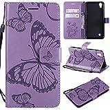 Kihying Funda para LG X Power / K220 / LS755 Funda Cáscara Case (KT/3D Mariposa Flor) A Prueba de choques Que Cae PU Cuero Caja del teléfono móvil (Púrpura)