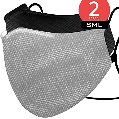 Enzo Sport Edition Grid Gray Face Covers - Pack of 2 - Polyester & Aegas Microbrand NanoTech Cotton. Fits Most Faces with Adjustable Ear Loops, Washable & Reusable Upto 30x with Full Protection