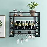O&K FURNITURE 31' Industrial Wine Racks Wall Mounted with Stem Glass and Mug Holder, Hanging Wine Racks for Wine Bottles, Wine Display Storage Wall Rack, Brown