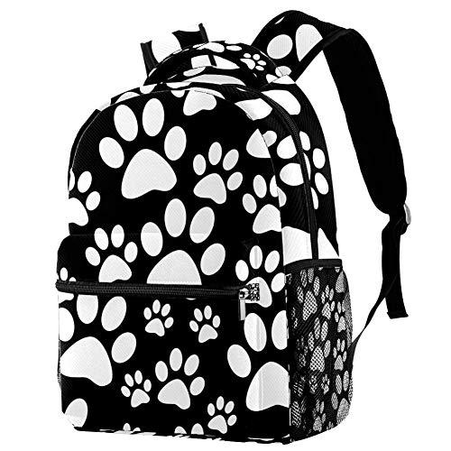 LORVIES Zwarte Witte Hond Tegel Paw Print Casual Rugzak Schouder Rugzak Boekentas voor School Studenten Reistassen