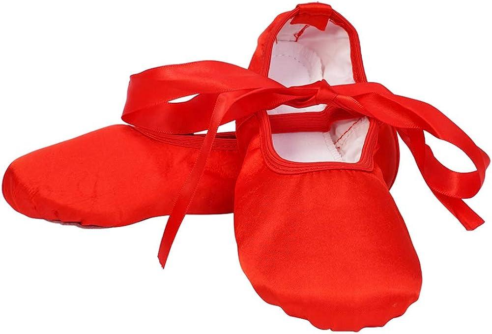 AOQUNFS Ballet Slippers for Toddler Girls Dance Shoes Ballet for Kids,Silk-Straps,Ballet-DM