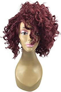 Ladies Wig Red Short Curly Hair Wig Set 35cm High Temperature Silk Rose Net,Hairpieces