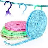 BlueBeach® Packung 3 Tragbar Winddichte Wäscheleine Kleiderlinie 5m Trocknen Wäscheleine Kleider Seil für Outdoor/Indoor/Home/Reisen (zufällige Farbe) -