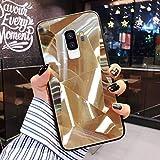 Uposao Compatible con Funda Samsung Galaxy S9 Plus Purpurina Funda,Espejo Glitter Brillante Carcasa con 3D Geométrico Diseño TPU Slim Silicona Carcasa Funda Caso para Galaxy S9 Plus,Oro
