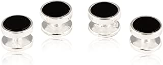 Mens Solid 925 Sterling Silver Black Onyx Shirt Stud Set