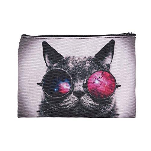 Trousse de Toilette, Trousse a Maquillage, plumier, Organisateur, Trousse Scolaire, Trousse de Voyage. Galaxy Sunglasses Cat [045]