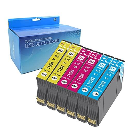 Teng 6color T1295 Cartuchos de Tinta para Epson T1291 T1292 T1293 T1294 Compatible con Epson Stylus SX235W SX425W SX435W SX445W SX535WD BX305FW Plus WF-7515