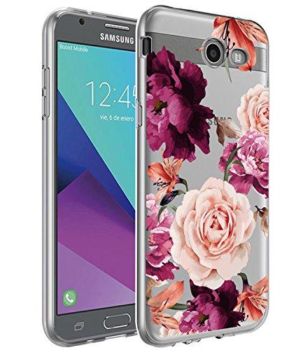 BAISRKE Galaxy J7 V Case,Galaxy J7 Prime Case, Slim Shockproof Clear Floral Pattern Soft Flexible TPU Back Cove for Galaxy J7 V / J7 2017 / J7 Prime / J7 Perx / J7 Sky Pro/Galaxy Halo [Purple]
