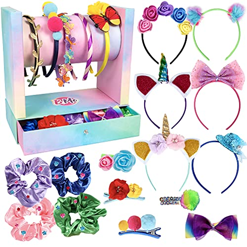 Create Your Own Headband Hair Fashion DIY Arts Craft Kit for Girls - 60+ Craft Supplies Display Drawer Storage Stand - Makes 19 Stylish Hair Accessories - Gift for Girls- Crafts Making Kits Ages 6+