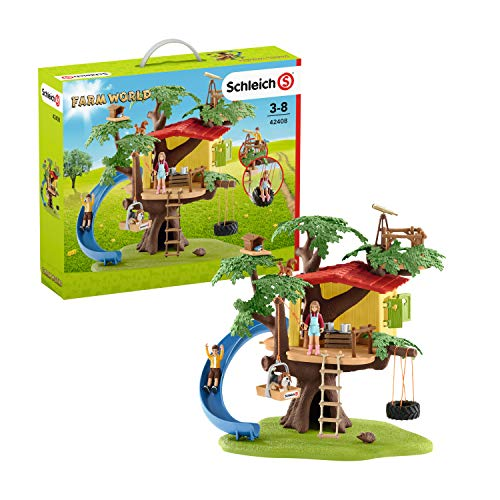 Schleich Farm World Adventure Tree House 28-piece Educational Playset for Kids Ages 3-8