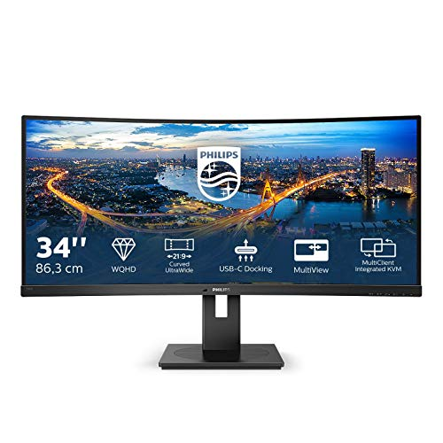 "Philips 346B1C Gaming Monitor Curvo 34"" 21:9 WQHD, 100 Hz, Adaptive Sync, Multiview (PiP, PbP), KVM e Audio Integrati, HDMI, Display Port, Docking Station USB-C, RJ45, Regolabile Ergonomicamente, Vesa"