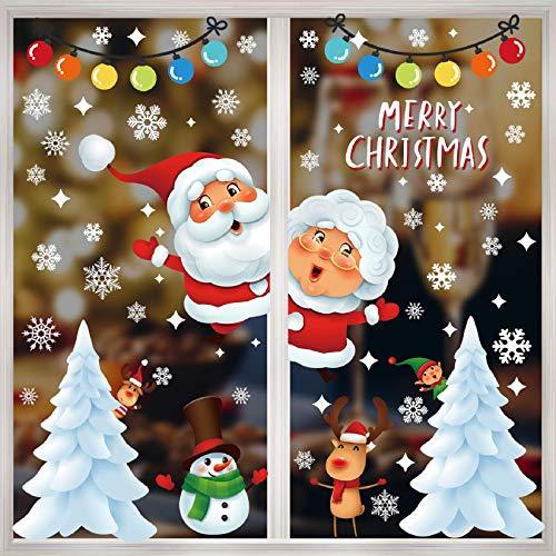 Voqeen Natale Vetrofanie Finestra Sticker Addobbi Adesivi per Finestre Vetrina Decorazione Fiocco di Neve Natale Babbo Natale Addobbi Statico Adesivi per Casa Negozi Finestra Vetrina