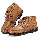 Camfosy, Botas Chukka de PU Cuero para Hombre, Botines cálidos de Invierno, Zapatos de conducción con Forro de Piel sintética con Costuras a Mano Caqui EU 40