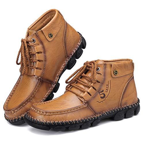 Camfosy, Botas Chukka de PU Cuero para Hombre, Botines cálidos de Invierno, Zapatos de conducción con Forro de Piel sintética con Costuras a Mano Caqui EU 42