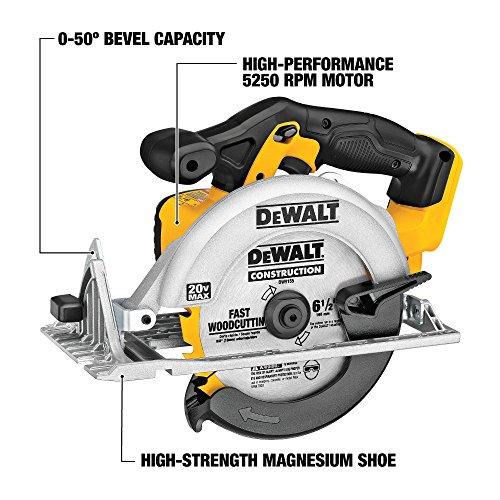 DEWALT 6-1/2-Inch 20V MAX Circular Saw, Tool Only (DCS391B) , Yellow