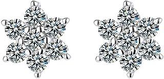 Belons Pendientes de plata de ley 925 con circonita cúbica y diseño de copo de nieve