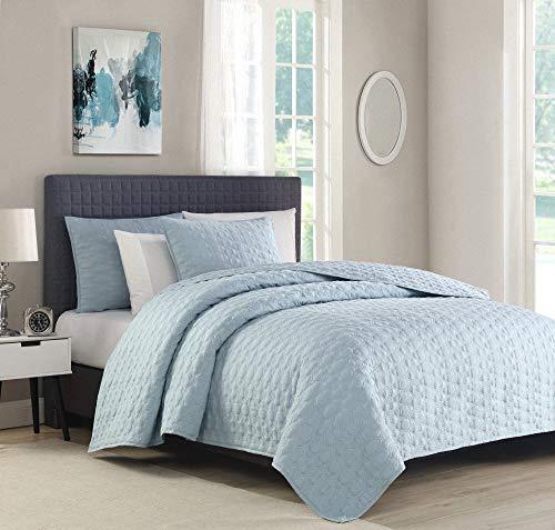 Bourina Quilt Coverlet Set Embroidery Bedspread 3-Piece Quilt Set Microfiber Lightweight, Oversized King 108' x 96' Blue