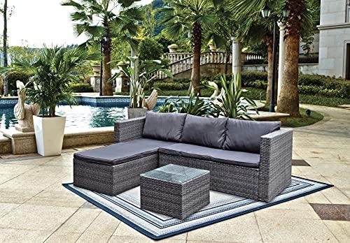 BRAVICH Wetterfestes Rattan-Sofa-Set, 3-teilig, Eckstuhl, Terrasse, Gartenmöbel-Set, 6-Sitzer, mit Regenschutz, komplett montiert
