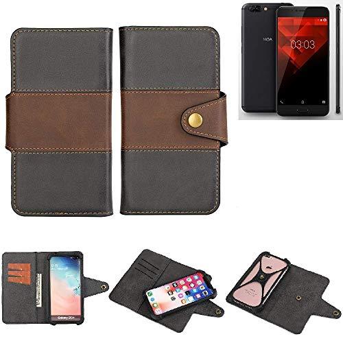 K-S-Trade® Handy-Hülle Schutz-Hülle Bookstyle Wallet-Case Für -NOA H10le- Bumper R&umschutz Schwarz-braun 1x