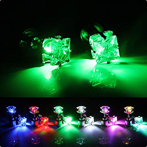 Leuchtender Schmuck LED Quadrat-Ohrstecker beleuchet Ohr Farbe Grün