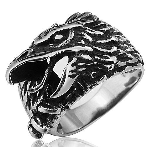 Uomo vintage gotico in acciaio INOX Band anelli argento nero Aquila hip-hop Hispter anelli taglia 7–13 e Acciaio inossidabile, 27,5, cod. HERORZXRING1224