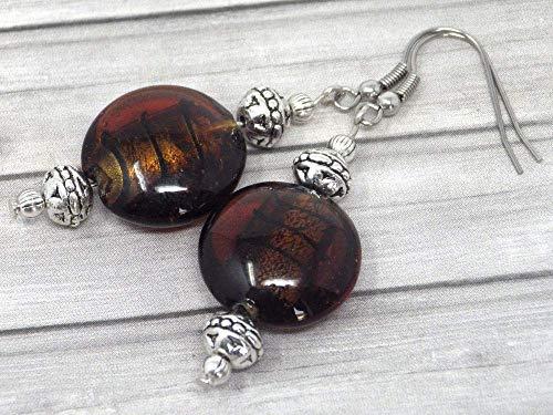 Pendientes de acero inoxidable Venezia y cuentas de cristal de Murano marrón