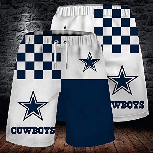 Männer Schließen Stretch-Strand-Hosen NFL Dallas Cowboys Fans 3D Gym Shorts Sports Short Drucken White+Blue-L