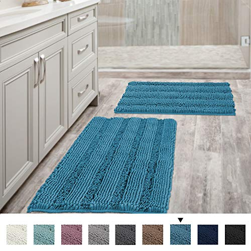 Bathroom Rugs Slip-Resistant Extra Absorbent Soft and Fluffy Thick Striped Bath Mat Non Slip Microfiber Shag Floor Mat Dry Fast Waterproof Bath Mat (Set of 2-20' x 32'/17' x 24')